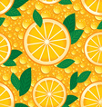 Orange with green leaves seamless pattern vector image