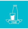 The traditional bottle of milk and glass cup vector image