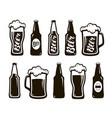 glass of beer ale lager mug bottle set of vector image