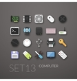 Flat icons set 13 vector image