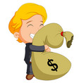 businessman holding bag of money vector image