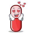 in love pill capsule cartoon character vector image