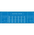 Shopping center building front blue print vector image