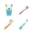 toothbrush icon set flat style vector image