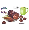 Watercolor cake with latte tea breakfast vector image