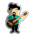sticker colorful silhouette singer with acoustic vector image