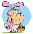 Easter bunny costume cartoon vector image