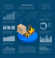 infographics with data icons world map charts and vector image