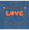 Jeans pocket with text love vector image
