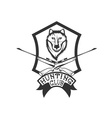 hunting club crest with carbines and wolf vector image