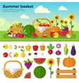 Basket full of fruits and vegetables vector image