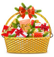 basket with christmas gifts vector image