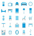 Furniture color icons on white background vector image