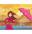 girl with umbrella on a rainy autumn day vector image