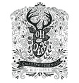 Hand drawn vintage label with a reindeer and vector image
