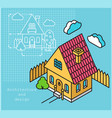 project cottage in flat and isometric style vector image