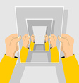 recursion Hand holding blank paper vector image