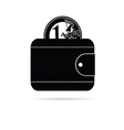 wallet icon with black euro coin vector image