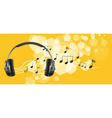 A headset and the musical notes vector image vector image