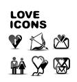 Love glossy icon set vector image