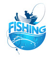 fisherman in a boat and fish vector image vector image