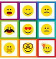 Flat icon emoji set of smile hush sad and other vector image