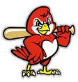 baseball bird mascot vector image vector image