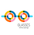 Glasses logo template Round and straight vector image