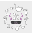 Set of hand drawn stylized drinks in Background vector image