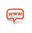 WWW message sticker orange vector image