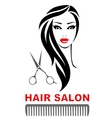 hair salon icon with woman face and scissors vector image vector image