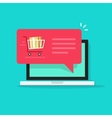 Laptop with shopping cart full red speech bubble vector image