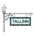 Tallinn retro vintage pointer lamppost vector image