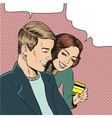 couple looking at credit vector image