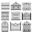 Decorative black silhouettes of fences with gates vector image