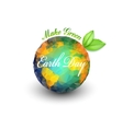 Earth Day background with the words planet and vector image