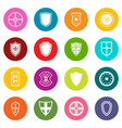 shield frames icons many colors set vector image