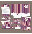 Stationery set with pink stripes vector image