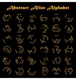Alien golden alphabet vector image