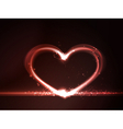 Red glowing heart vector image