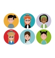 woman face avatar female circle icons vector image