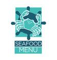 seafood menu of lobster crab on ship helm vector image