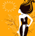 women silhouette floral vector image vector image