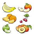 drawing set of different color fruits vector image vector image