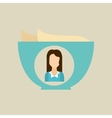 bowl butter icon character woman graphic vector image