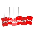 colorful hanging cardboard Tags - discount vector image