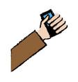 drawing hand holding credit card bank vector image