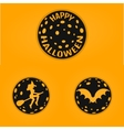 Happy halloween concept design badges in line vector image