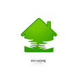 two hands hold green house vector image