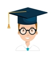 student character with hat graduation vector image